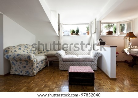 interior apartment, small loft furnished, livingroom - stock photo