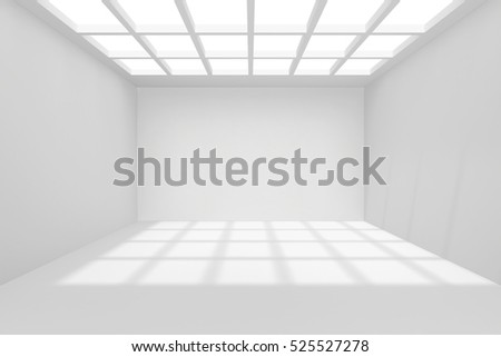 Interior architecture blank room with ceiling from window. 3d rendering.
