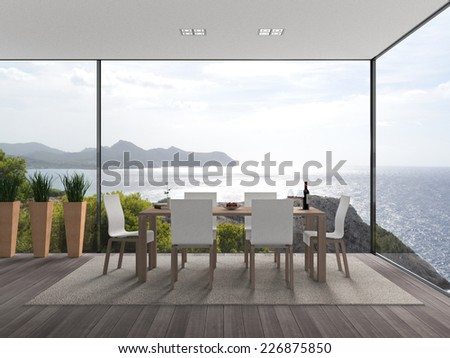interior architecture 3D rendering with fantastic view to the sea - stock photo