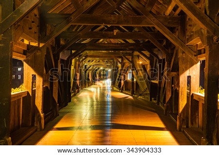Interior architecture of the historic wooden bridge in Bad Saeckingen, Black Forest, Baden-Wuerttemberg, Germany, Europe