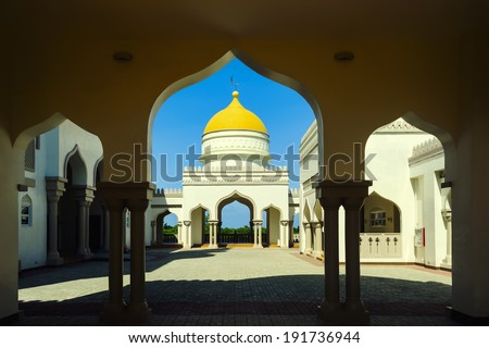 Interior arcs in a new grand mosque in Cotobato, Southern Philippines - stock photo