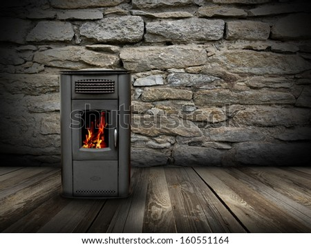 interior backdrop with wooden floor and burning stove - stock photo