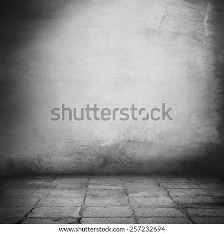 interior background, grunge urban background old wall texture and sidewalk - stock photo