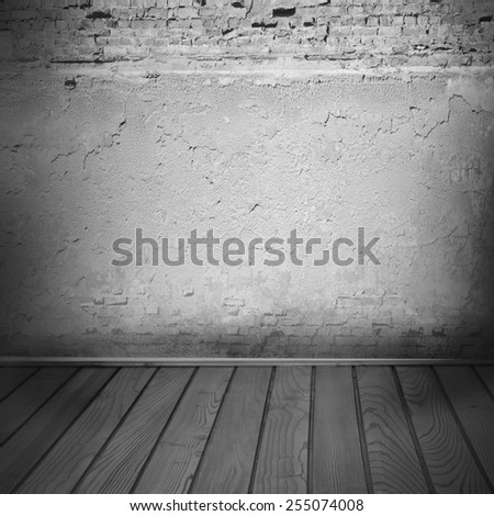 interior background, plaster and brick wall texture wooden floor in black and white - stock photo