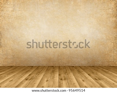 Interior background - wooden floor and grunge wall - stock photo
