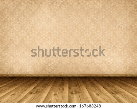 Interior background - wooden floor and vintage wallpaper - stock photo