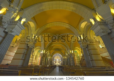 Interior Basilic Notre Dame Fourviers in Lyon, France - Europe - stock photo