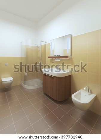 Interior bathroom in Contemporary style. Room yellow tiles on the walls and white ceiling. Furniture made of brown wood. 3D render.