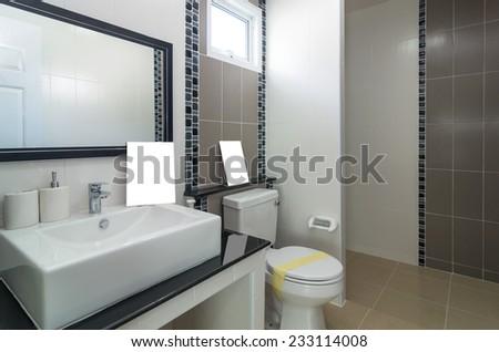 Interior bathroom in Luxury Home - stock photo