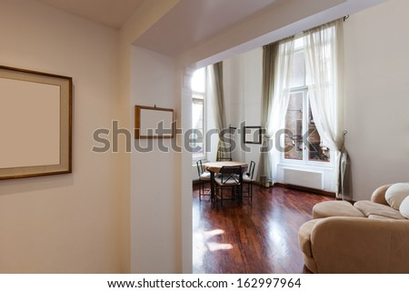 Interior, beautiful apartment, furnished room view