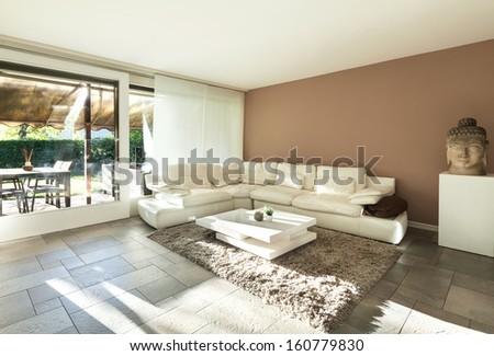 Interior, beautiful apartment, luxurious living room - stock photo