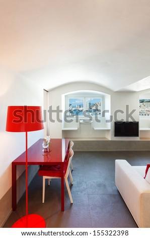 Interior, beautiful apartment, modern furniture - stock photo
