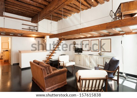 Interior, beautiful loft, living room view - stock photo