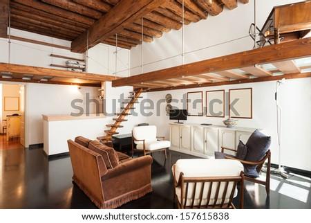 Interior, beautiful loft, living room view - stock photo