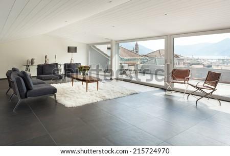 interior, beautiful loft, modern furniture - stock photo