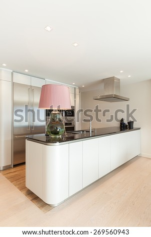 Interior, beautiful modern apartment, comfortable kitchen