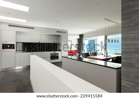 Interior, beautiful modern apartment, open space - stock photo