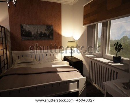 interior bedroom, 3d visualization