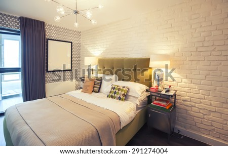 interior bedroom in country side - stock photo