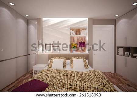 Interior Bedroom in modern style. Interior design. 3D illustration