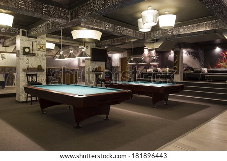Interior.Billiard interior. graffiti, wallpaper words, random words. Premium - cafe & games. Bulgaria, Veliko Tarnovo