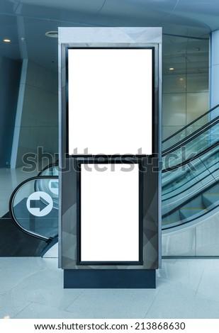 interior blank billboard - stock photo
