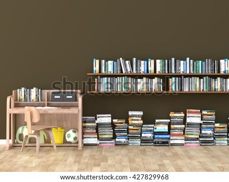 interior bookshelf room library kids room 3D image - stock photo