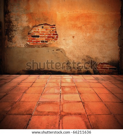 interior brick wall. - stock photo