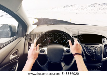 Interior car on the road in winter