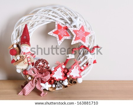 Interior Christmas home decoration on the table. - stock photo