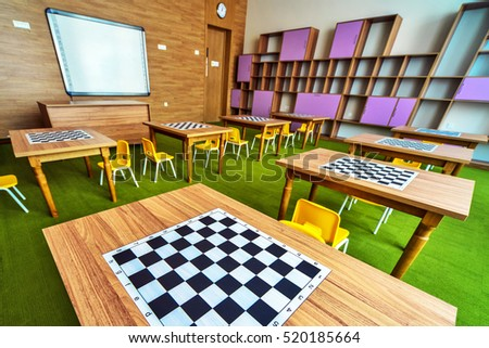 Interior classroom in the children's educational center