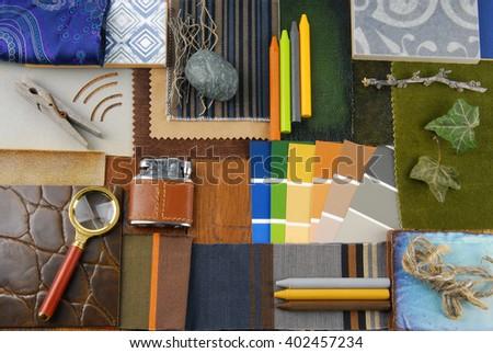 interior color harmonisation in vintge retro style - stock photo