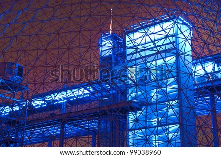 Interior Color of a metal structure.#3 (Night Scene) - stock photo