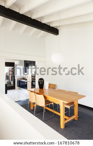 interior, comfortable loft, modern furniture - stock photo