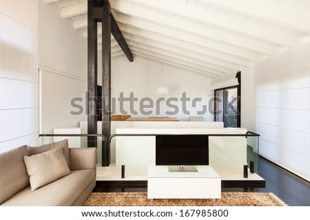 interior, comfortable loft, modern furniture