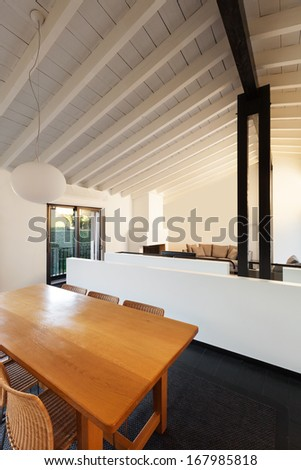 interior, comfortable loft, modern furniture, dining table