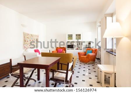 interior, comfortable small apartment, living room - stock photo