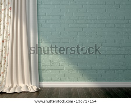 Interior composition in a romantic style, with white curtains on the background of blue brickwork
