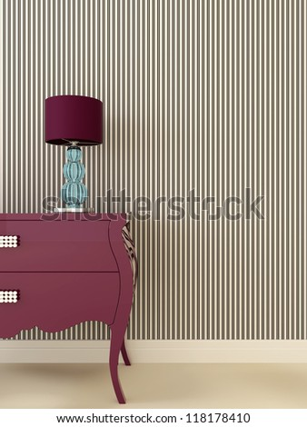 Interior composition in Art Deco style, which consists of a purple dresser and a desk lamp with a blue base on the background of striped wallpaper in black and white color - stock photo