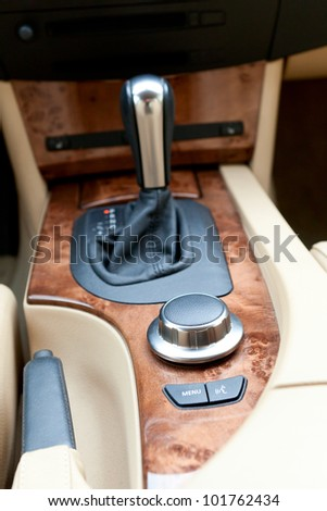 Interior console of luxury car - stock photo