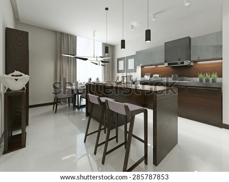 Interior Contemporary kitchen with bar and bar stools. Kitchen furniture wood with metal inserts in brown and gray tones. 3d render.