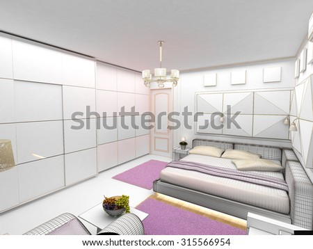 interior 3D bedrooms with bed and a window to the street