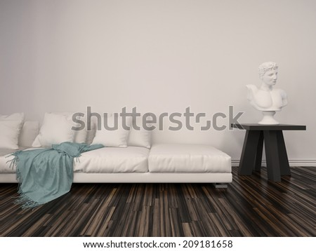 Interior decor in a classical living room with a white marble bust on a table alongside a comfortable upholstered white sofa with a blue throw rug against a white brick wall with parquet floor - stock photo