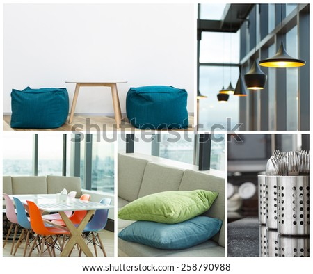 interior decoration modern furniture collection - stock photo