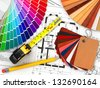 interior design. Architectural materials, measuring tools and blueprints. 3d - stock vector