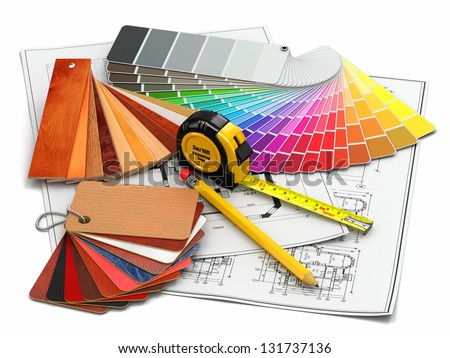 Interior Design Architectural Materials Measuring Tools Stock Illustration 131737136 Shutterstock