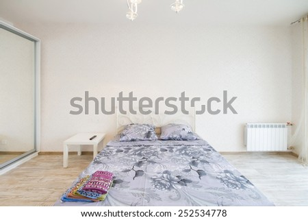 Interior design big modern Bedroom with bed - stock photo