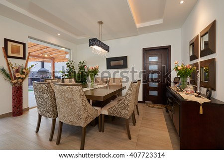 Interior Design: Big modern dining room - stock photo