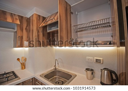 Interior Design Decor Showing Modern Kitchen Stock Photo (Royalty ...