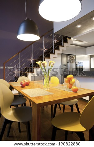 Interior design - dinning table and chairs in a kitchen - stock photo